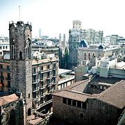 View of Plaza del Rei in Gothic quarter, Barcelona, Catalonia, Spain